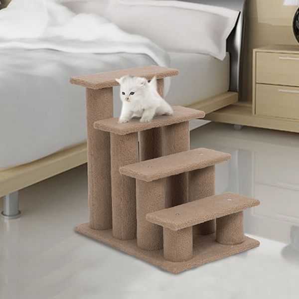 "Pawhut 24"" Four Step Cat Tree Stairway Perch - Light Brown"