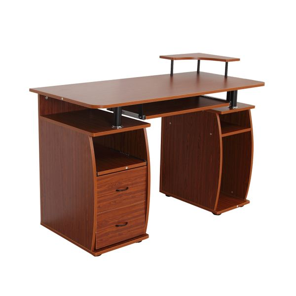 HomCom Computer Desk Study Table PC Desktop w/ Printer Shelf Home Office Walnut | Aosom