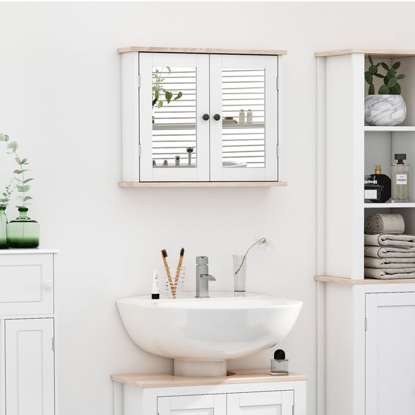 kleankin Bathroom Medicine Cabinet Wall Mount Mirror Cabinet with Double Doors and Adjustable Shelf, Wooden Storage Cabinets Organizer for Kitchen, Accent Home Furniture, White W/   Aosom