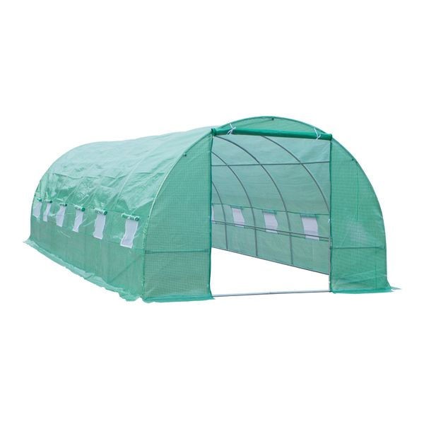 Outsunny Deep Green 26'x10'x7' Portable Greenhouse Walk-In Garden House Large Size Walk In Gardening Plant House | Aosom