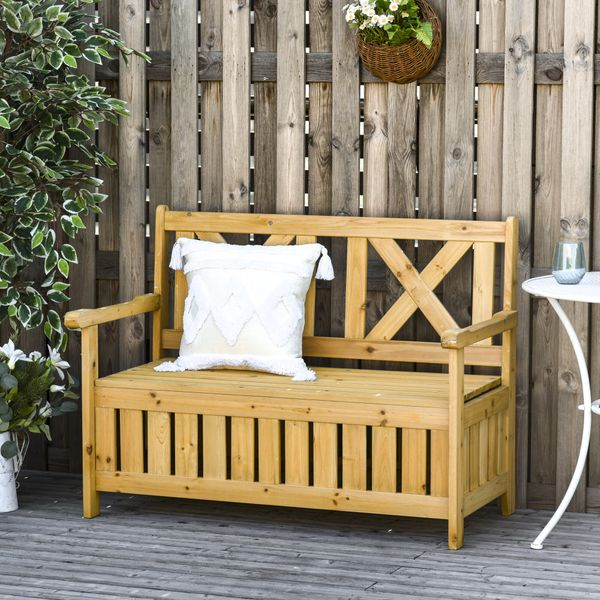 Outsunny Garden Storage Bench 2 Seater Outdoor Storage Bench With Beautiful Design, Louvered Side Panels & Solid Wood Build, Yellow 2-Person Backyard Patio Panels   Aosom