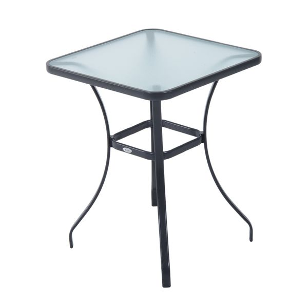 "Outsunny 33""H Square Patio Bistro Table Outdoor Garden Steel & Tempered Glass 