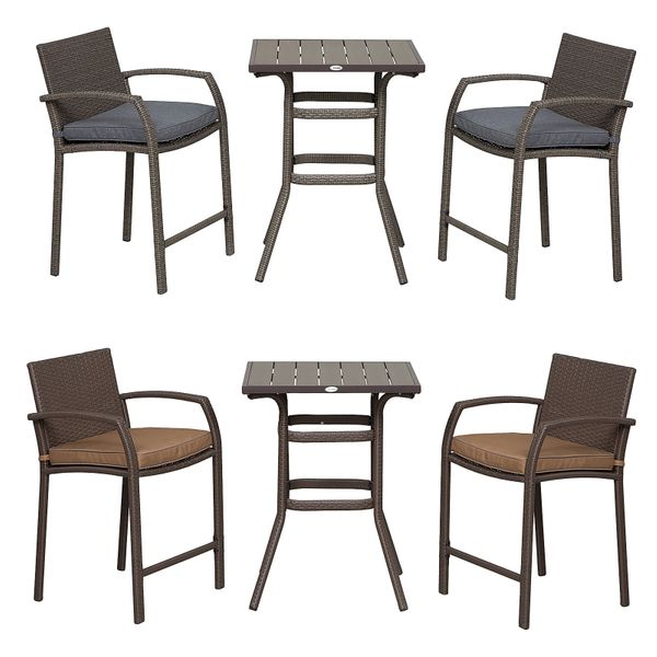 Outsunny 3 Piece Outdoor PE Rattan Wicker Patio Conversation Table Set with 2 Chairs & 1 Center Coffee Table 3-pcs Barstool Footrest | Aosom