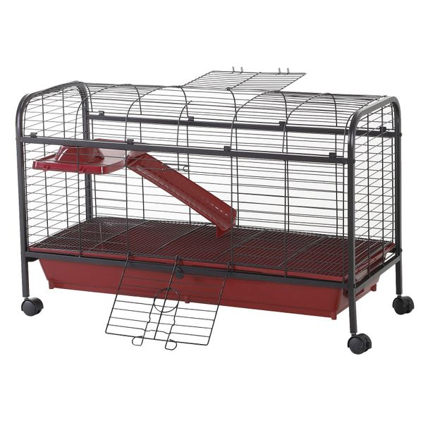 "PawHut 42"" Metal Wire Small Animal Pet Cage Rabbit Guinea Pig Play House with Wheels and Ramp - Red and Black 