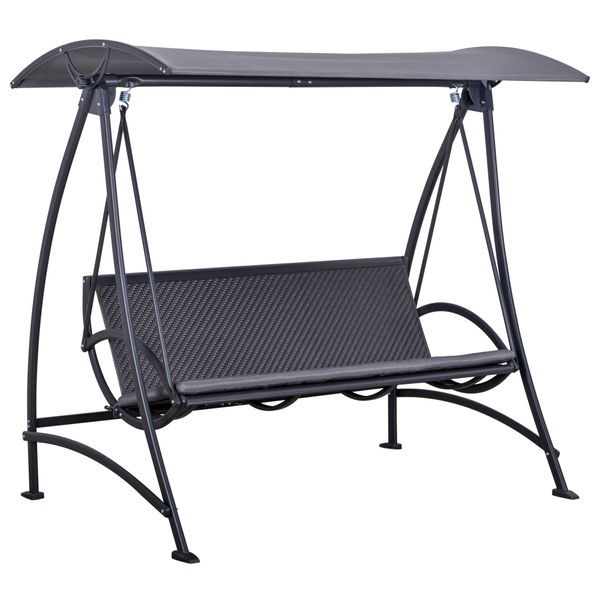 Outsunny 3 Person Rattan Swing Chair Garden Swing Bench Outdoor Hanging Porch Swing w/ Adjustable Canopy, Cushion, Steel Frame, Grey Wicker   Aosom