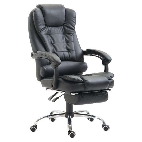 HomCom Reclining Office Chair With Footrest Black | Aosom