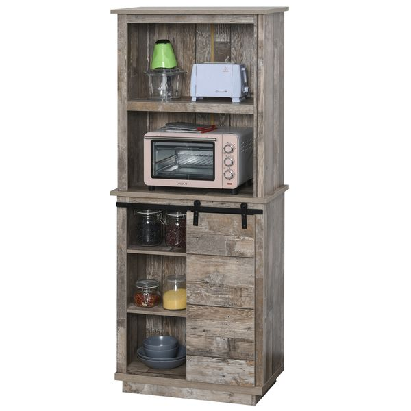 HOMCOM Rustic Storage Cabinet Home Tall Organizer with Barn Door  Adjustable Shelf Freestanding Furniture  Vintage Wood Color | Aosom