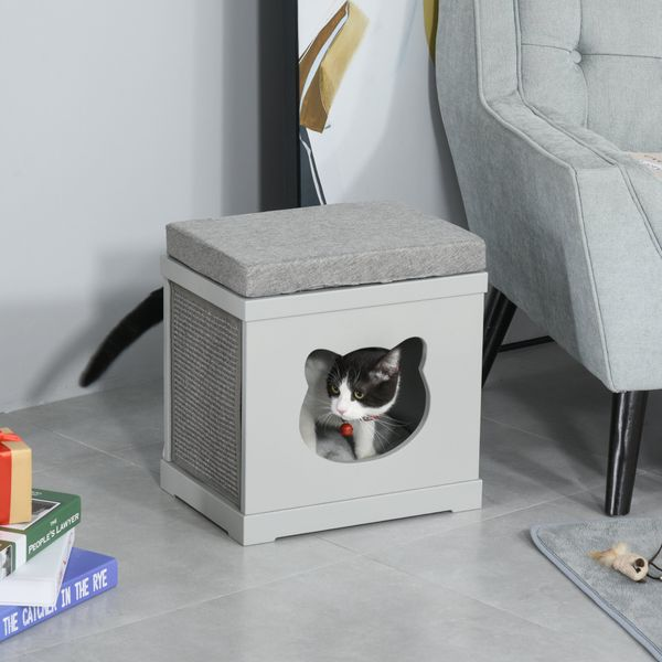 Pawhut Wooden Cat House Bed Cat Scratching Cube for Small Dog Pet Furniture with Removable Scratching Pad and Soft Cushion Grey PawHut Kitten bed | Aosom