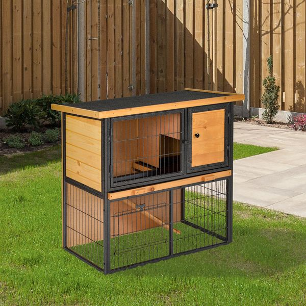 """PawHut 2-Level Rabbit Hutch with Openable Hinged Asphalt Roof, Removable Tray for Backyard Wooden Roof Outdoors 36"""" L x 17.75"""" W x 27.5"""" H 