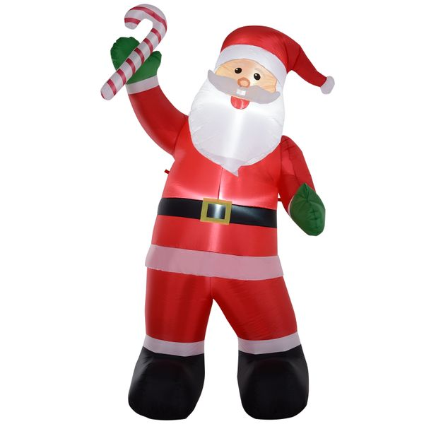 HOMCOM 8' H Christmas Holiday Yard Inflatable Outdoor Light Up LED Airblown Decoration Smiling Santa with Candy Cane | Aosom
