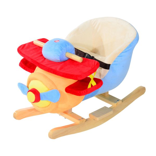Qaba Children Rocking Horse Baby Wood w/? Song Belt Toy Seat Plane Activity | Aosom