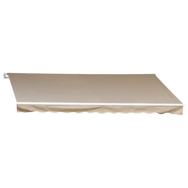 Outsunny 12' x 10' Outdoor Patio Manual Retractable Exterior Window Awning with Adjustable & Versatile Design Beige White | Aosom