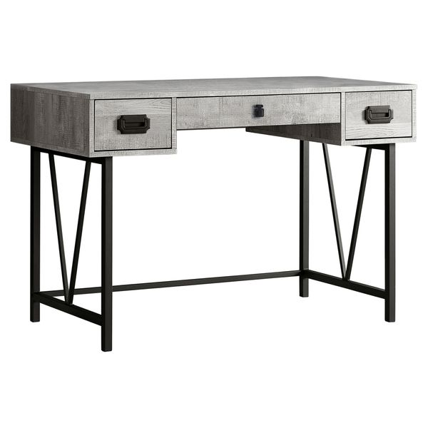 """Monarch 48"""" Contemporary Industrial Reclaimed Wood-Look and Metal Writing Desk - Grey / Black Metal   Aosom"""