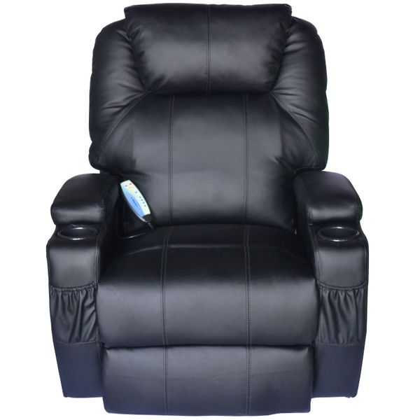 Home Massage Chair PU Leather Vibrating | Aosom US / HOMCOM Luxury Faux Heated Recliner with Remote - heated vibrating recliner chair | Aosom