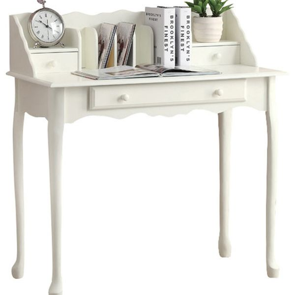 """Monarch 36"""" Traditional French Style Queen Anne-Style Legs 2-Drawer Secretary Desk - Antique White Finish   Aosom"""