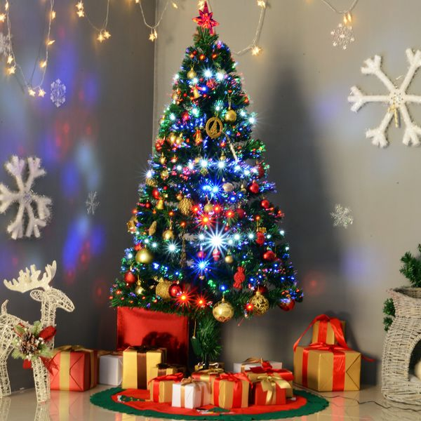 HomCom 5ft Pre Lit Christmas Tree Artificial Holiday Fiber Optic Light Up Christmas Tree with 8 Light Settings and Stand | Aosom