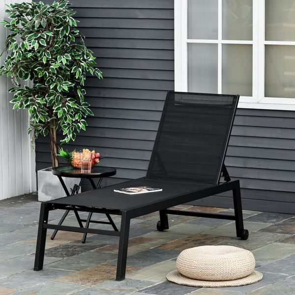 Outsunny Sun Lounger Chair Reclining Chaise Lounge With Wheels & Adjustable Backrest Bed Lounger Black W/ | Aosom