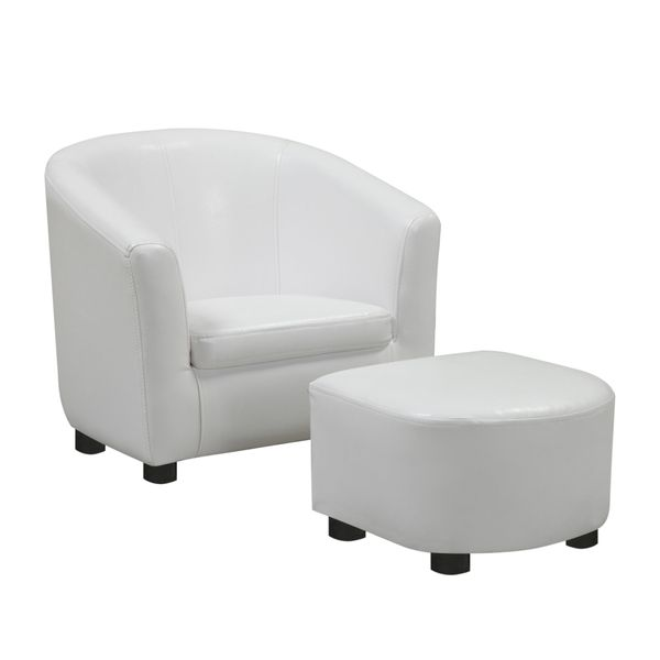 Monarch Kids' Upholstered Leather-Look Barrel Club Chair with Matching Ottoman - White | Aosom