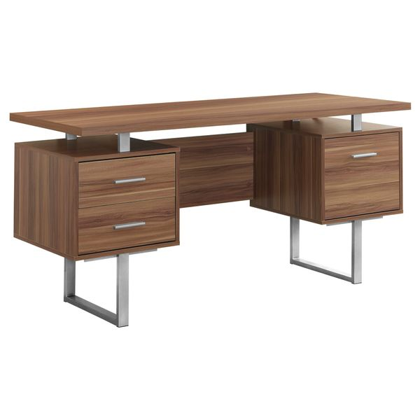 "Monarch 60"" Contemporary Floating Top Hollow-Core Office Desk with 2 Storage Drawers and File Drawer - Walnut / Silver Metal 