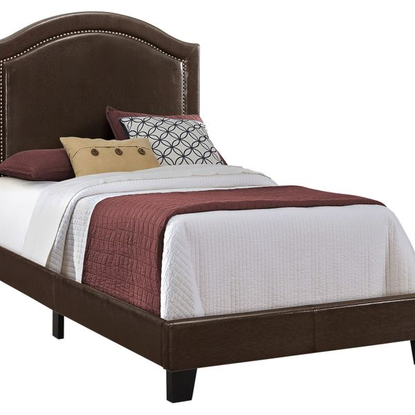 Monarch Twin Size Contemporary Upholstered Bed Frame with Brass Nail Head Trim and Wood Legs - Brown Leather Look | Aosom