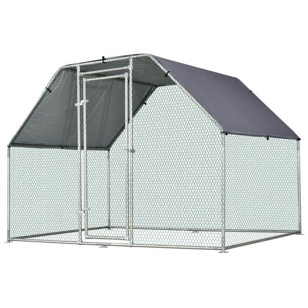 PawHut Galvanized Metal Chicken Coop Cage with Cover  Walk-In Pen Run  9' W x 6' D x 6.5' H|AOSOM.COM
