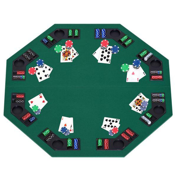 """HomCom 48"""" Deluxe Foldable Poker Table Game Tabletop with Carrying Bag 