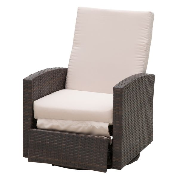 Outsunny Rattan Wicker Swivel Rocking Outdoor Recliner Lounge Chair / Rattan Reclining Deck Chair|Aosom.com
