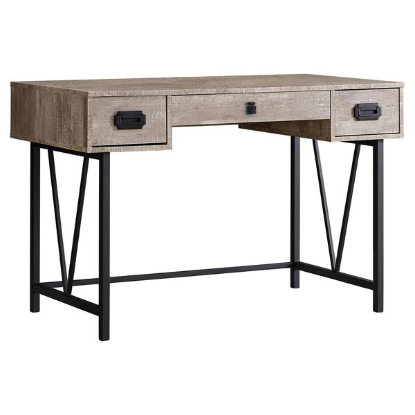"""Monarch 48"""" Contemporary Industrial Reclaimed Wood-Look and Metal Writing Desk - Taupe / Black Metal 