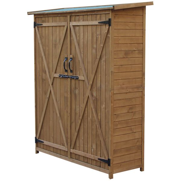 Outsunny Solid Wood Garden Storage Waterproof Outdoor Backyard Shed For Long Tool W/ Lock   Aosom