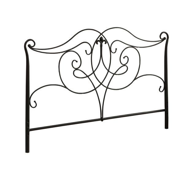 """Monarch 62"""" Traditional Scrolled Black Metal Motif Headboard - Fits Full or Queen Size Bed Frame 