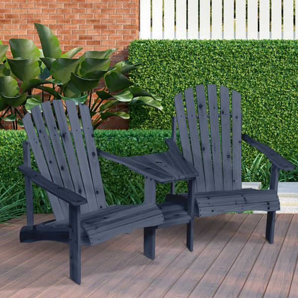 Outsunny Wooden Outdoor Double Adirondack Chairs with Center Table and Umbrella Hole, Perfect for Lounging and Relaxing, Grey Tete-A-Tete | Aosom