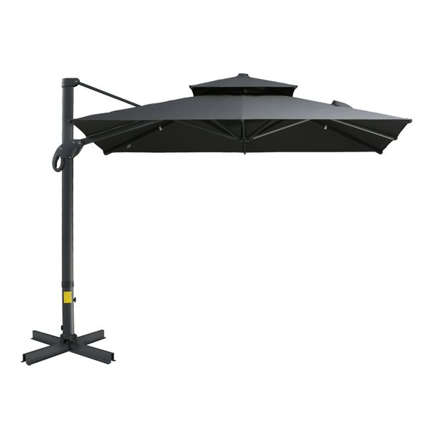 Outsunny 10' x 10' Rotating Outdoor Patio Cantilever Umbrella with Double-Tier Canopy & 4 Adjustable Tilt Angles, Grey 10'x10' Canopy, | Aosom