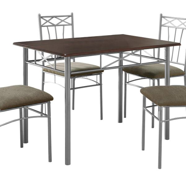 """Monarch 5 Piece 40"""" Rectangular Metal Framed Table and Chairs Dining Set - Cappuccino / Silver   Aosom"""