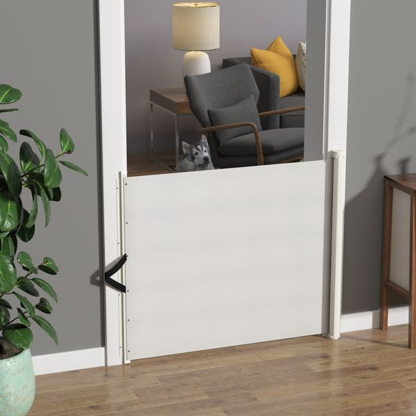 """PawHut Retractable Safety Gate Dog Pet Barrier Folding Protector Home Doorway Room Divider Stair Guard White 45.25""""L x 32.5""""H Door 