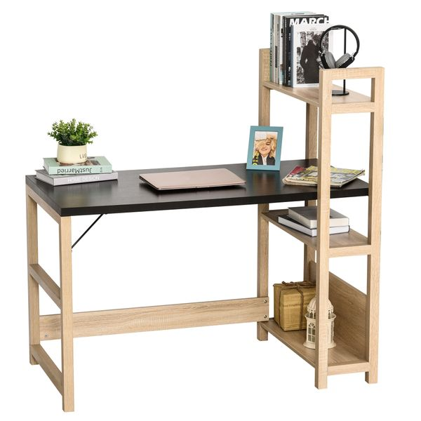 HOMCOM Rectangle Desk with 3-Tier Book Shelf Wide Display Table for Home Study  Office  Black Wood Grain | Aosom
