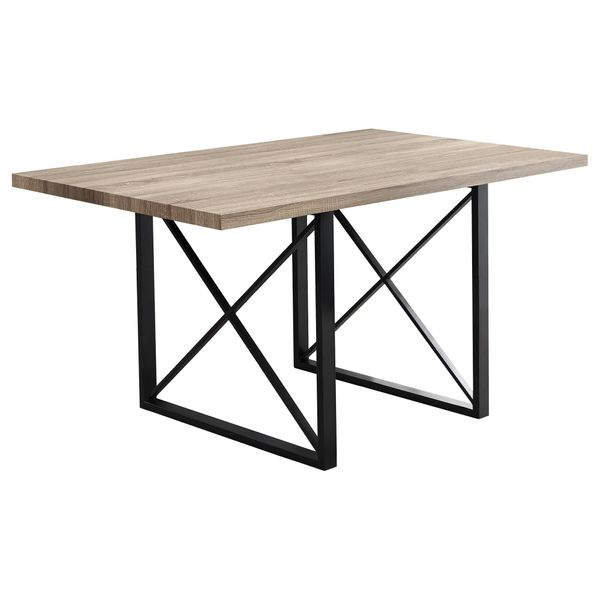 "Monarch 60"" x 30"" Rectangular Industrial Modern Metal Base Dining Table - Dark Taupe 
