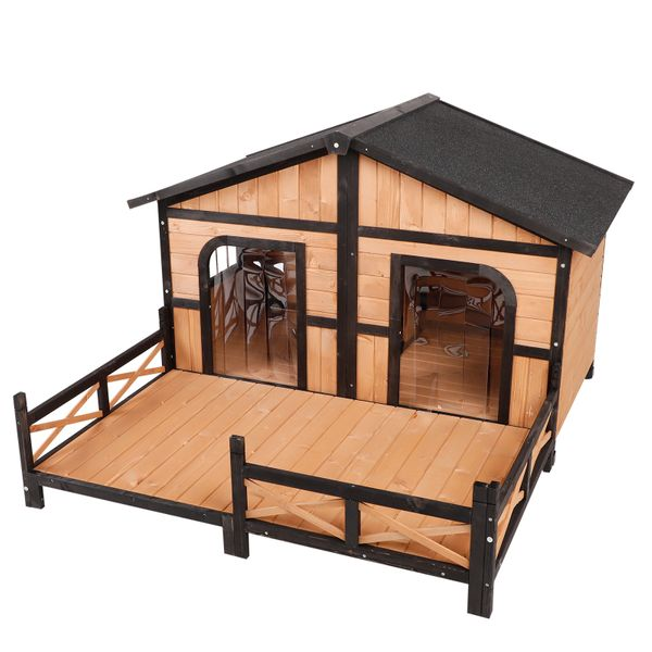 """PawHut 59""""x64""""x39 Wooden Raised Large Outdoor Dog House Weatherproof Rustic Log Cabin Style Elevated Pet Shelter Nap Porch Deck Natural Wood Color   Aosom"""