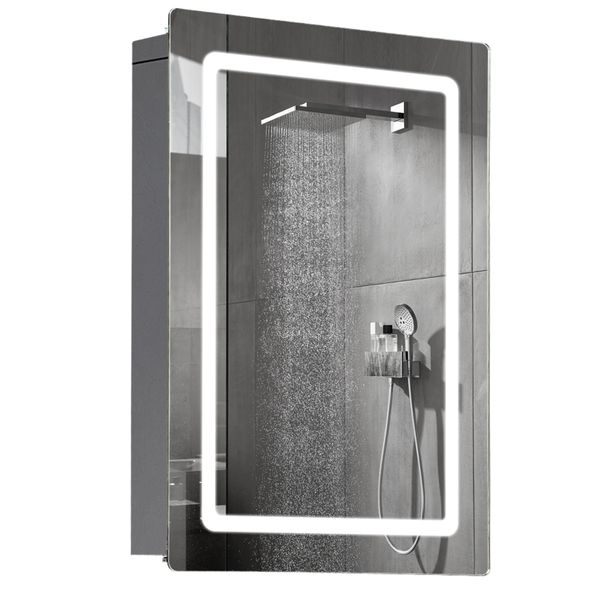 HomCom LED Sliding Door Mirror Medicine Cabinet