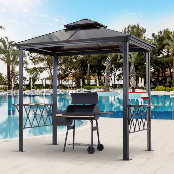 Outsunny 8.3 ft Outdoor Patio Double-tier BBQ Canopy Gazebo with 2 Separate Shelves for Serving & 6 Hooks for Utensils 8.3ft | Aosom