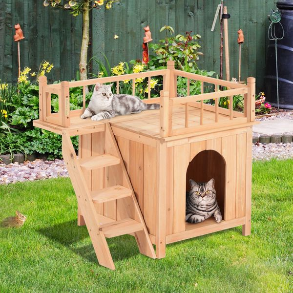 PawHut 2-Level Elevated Waterproof Cat House Outdoor Wooden Treehouse Cat Shelter with Balcoy | Aosom