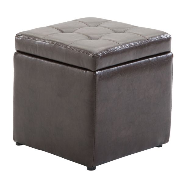 "HomCom PU Leather Storage Ottoman - Dark Brown / 16"" Cube faux leather tufted storage ottoman Footrest 