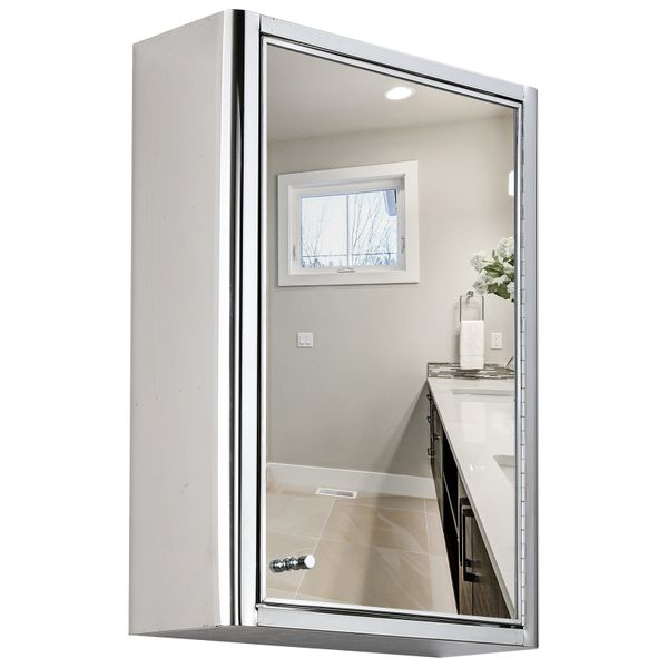 kleankin Vertical Medicine Cabinet Bathroom Wall Mounted Mirror Storage Stainless Steel | Aosom