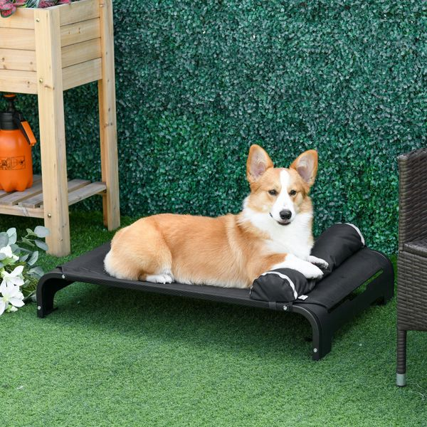 """PawHut Elevated Pet Bed Dog for Medium-Sized Dog Steel Frame Breathable Mesh Fabric Detachable Pillow Black 35.75"""" x 23.5"""" x 9"""" 
