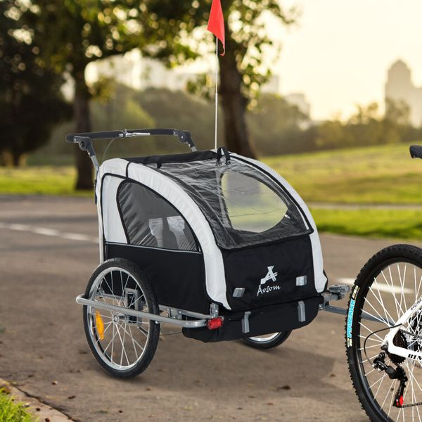 Aosom Elite Double Baby Bike Trailer Stroller Child Bicycle Jogger Swivel Wheel - Black and White | Aosom