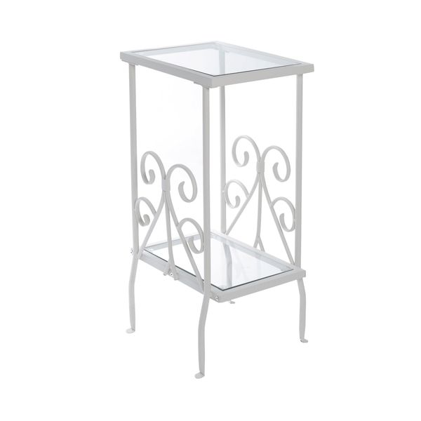 "Monarch 30"" Tradition Style Elegant Metal Scroll Frame 2-Tier Tempered Glass Shelf Side Accent Table - White Finish 