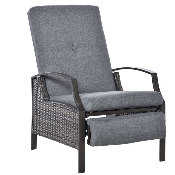 Outsunny Outdoor Rattan Recliner Chair With Cushion Adjustable Wicker Pool Chaise Patio Lounge Grey Armchair Durable Garden | Aosom