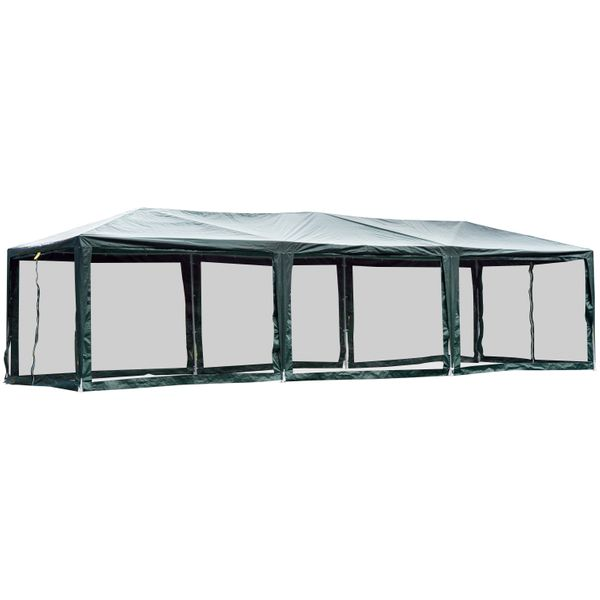 Outsunny 10' x 30' Gazebo Canopy Cover Tent / with Removable Mesh Side Walls - Green Large canopy with netting | Aosom