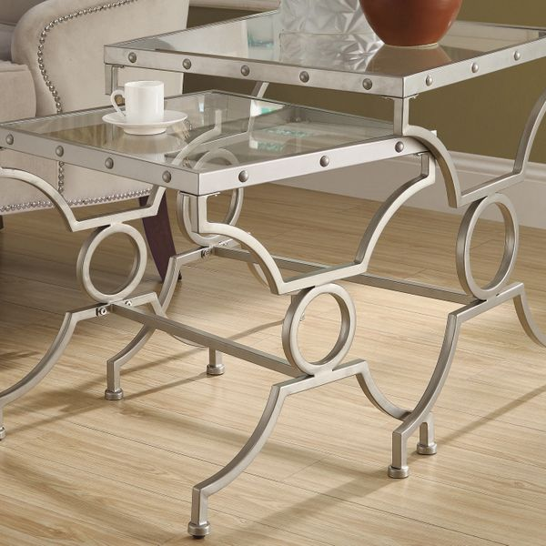 Monarch 2 Piece Contemporary Tempered Glass Top Symmetrical Shapes Metal Frame Accent Nesting End Table Set - Silver Finish | Aosom