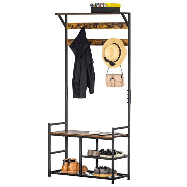 HOMCOM Hallway Tree Bench Organizer with 9 Coat Hooks, Large Sitting Bench and 3 Open Shelves for Entryway, Brown/Black Hooks   Aosom