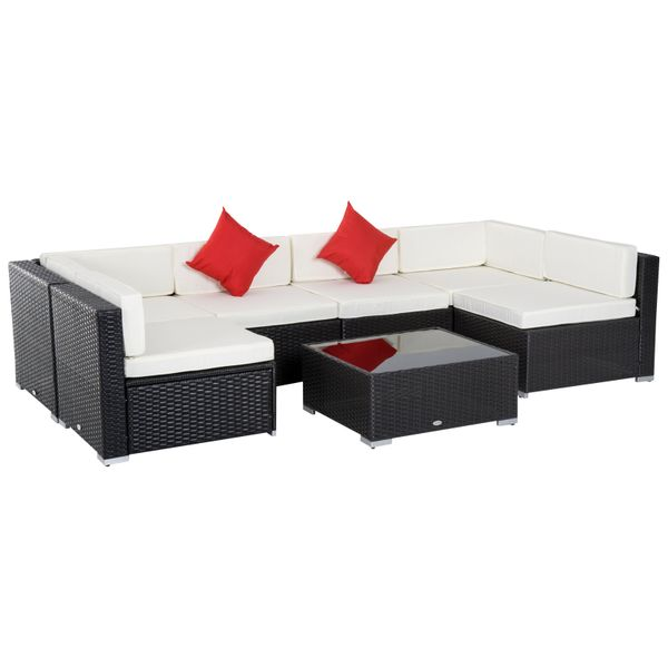 Outsunny 7 Piece Outdoor Rattan Sectional Sofa Patio Wicker Conversation Furniture Set Cushioned Couch | Aosom